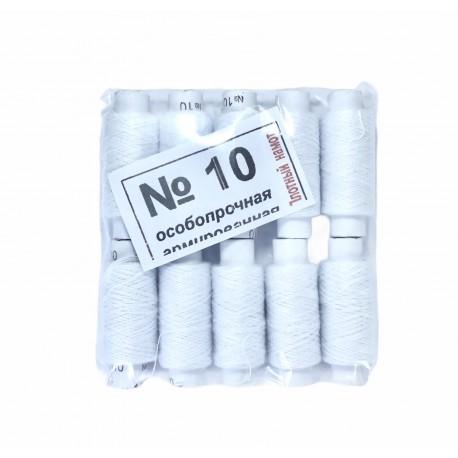 Нитка №10 белая большая
