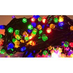 Гирлянда чёрный провод с лампочками в виде кристаллов 100L (микс)